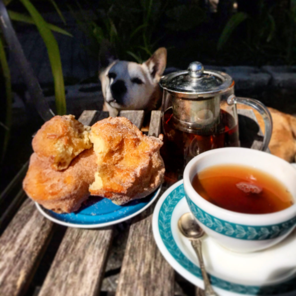 sourdough donuts with tea